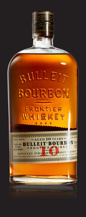 A bottle of Bulleit 10 Year Old and a gold medal from the 2015 San Francisco Spirits Competition