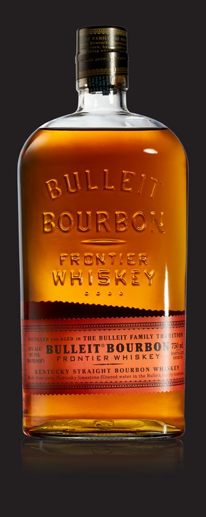 A bottle of Bulleit Bourbon and a gold medal from the 2012 World Spirits Competition