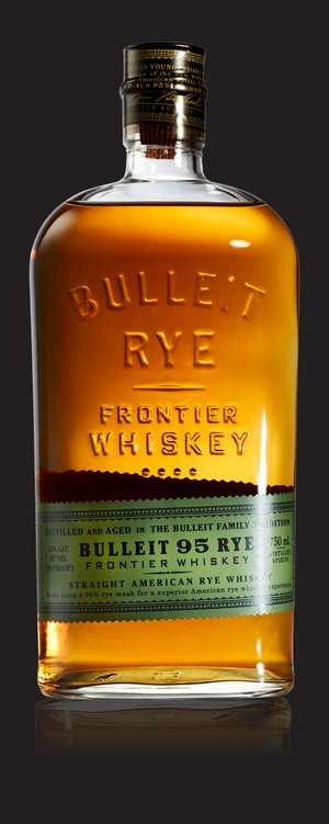 A bottle of Bulleit Rye and a gold medal from the 2013 San Francisco Spirits Competition